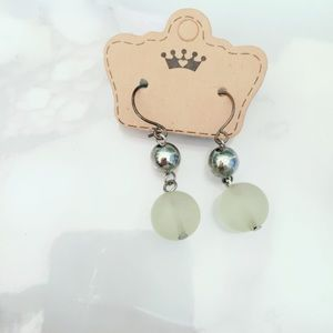 Frosted Glass Earrings Beaded Silver Tone